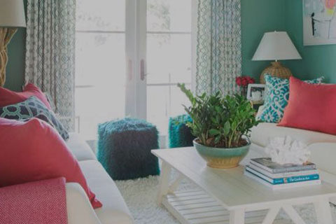 home interior with teal and pink accents